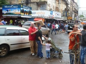 Alex and Deltha with their children in downtown Ciudad del Este