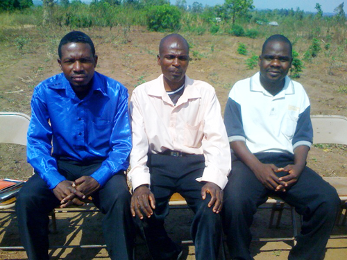 Malawi Grace Church leaders: Spencer (secretary); Serengu (chairman); and James (treasurer)